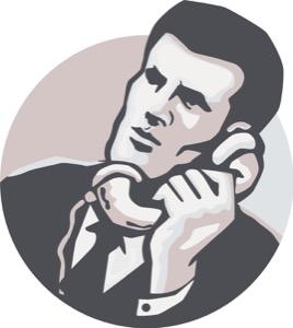 Businessman Talk Telephone Retro